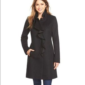 DKNY black ruffle front wool blend coat